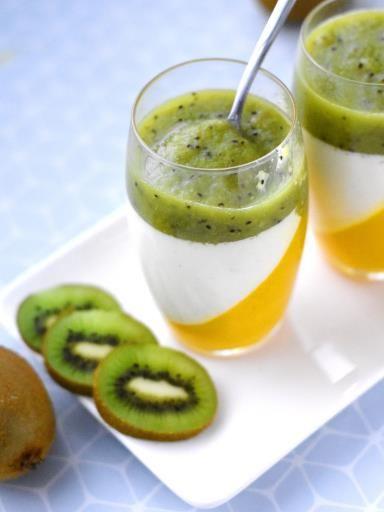 agar-agar, agar-agar, lait, mangue, vanille, crème liquide, jus de citron, kiwi, sucre