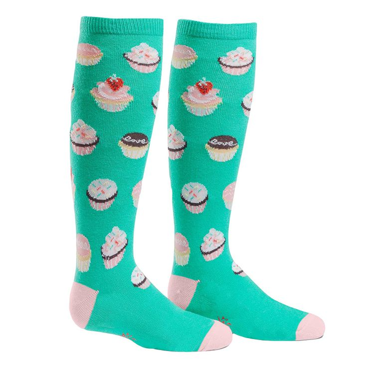 Dance across a cupcake dreamscape in these sweet knee-high socks for kids!