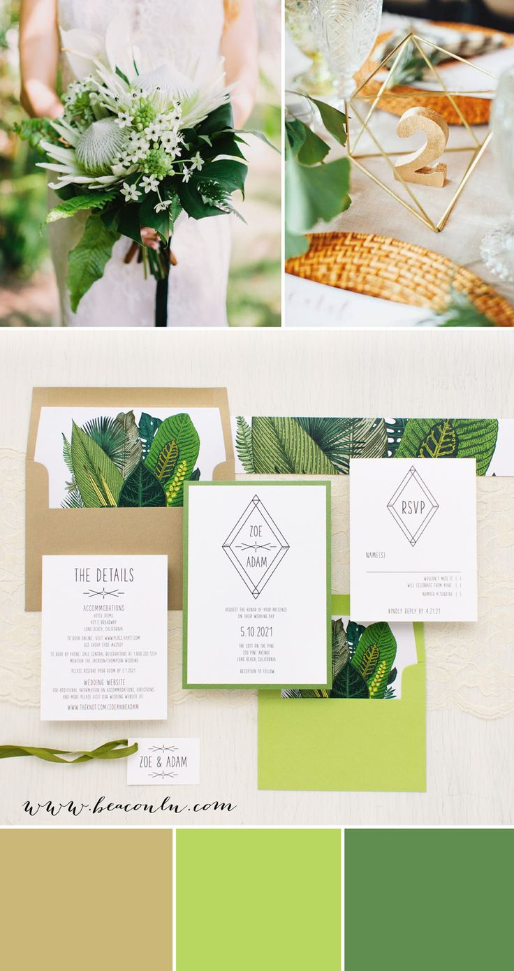 white and gold wedding invitations%0A Green Leaf Wedding Invitations