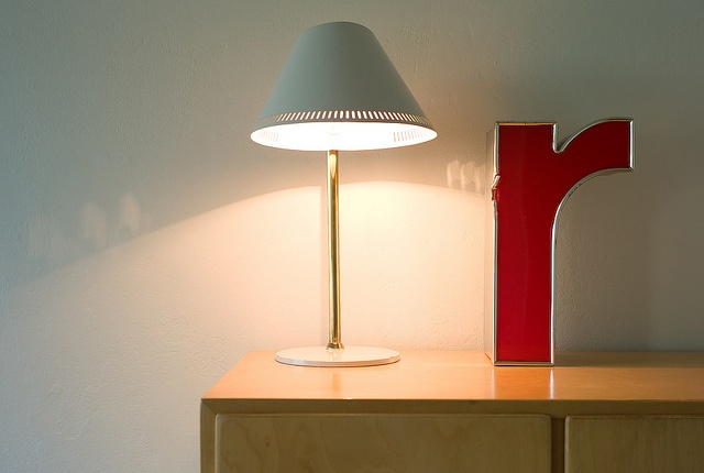 Lamp by Paavo Tynell, side table by Alvar Aalto, letter from a German bank.