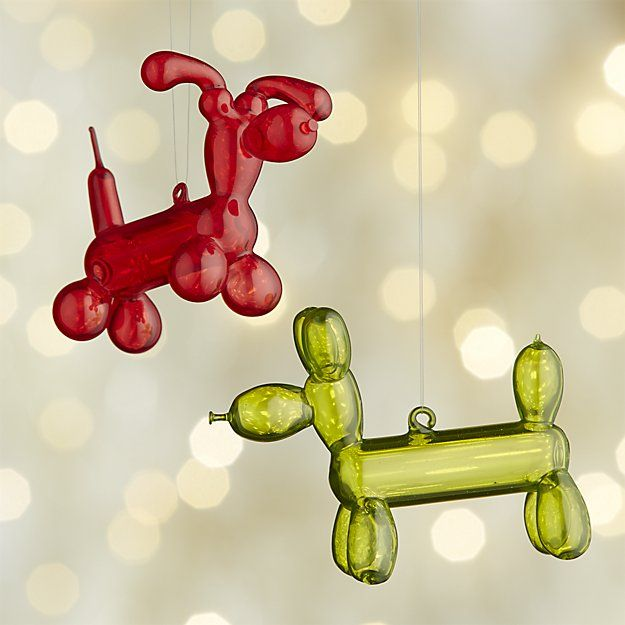 Balloon Dog Glass Ornaments | Crate and Barrel