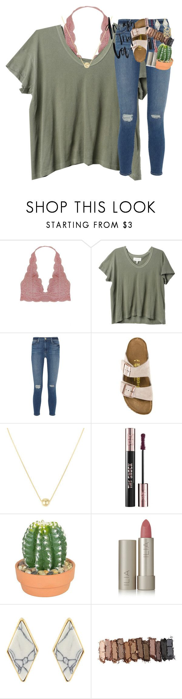 """""""how tall are you guys??"""" by classynsouthern ❤ liked on Polyvore featuring Humble Chic, The Great, Frame, Birkenstock, Yves Saint Laurent, The French Bee, Ilia, Urban Decay and Kendra Scott"""
