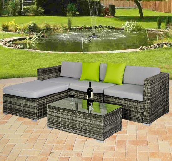 Amazing Buy Rattan Garden Furniture Set Wicker Conservatory Set in Grey UKgarden furniture