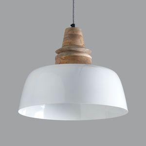 Margo White And Wood Pendant Light