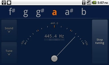 gStrings, gorgeous, simple tuner for any instrument, uses the phone's microphone. There's also a free version with ads.