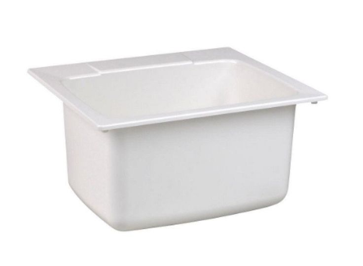 22 in. x 25 in. Molded Fiberglass Self-Rimming Utility Sink in White Semi-Gloss