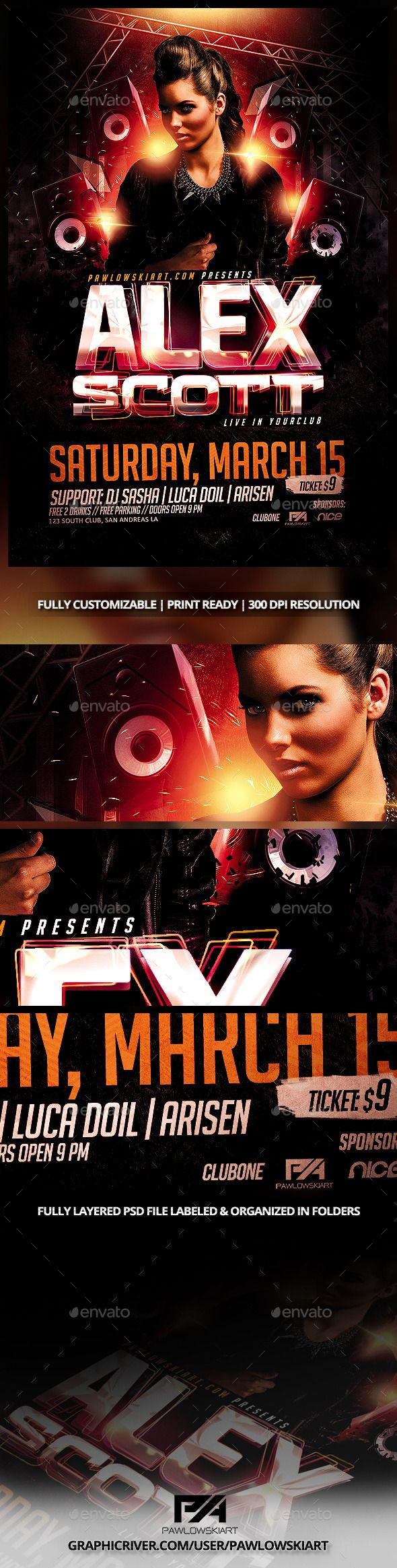 DJ Electro v3 Party Flyer PSD Template (CS, 4x6, artist, club, colorful, concert, design, dj, dj flyer, dj promote, effects, electro, electronic, festival, girl, glass, grunge, house, lights, minimal, mix, party, pawlowskiart, sexy, show, speakers, Special Guest, techno, trance)
