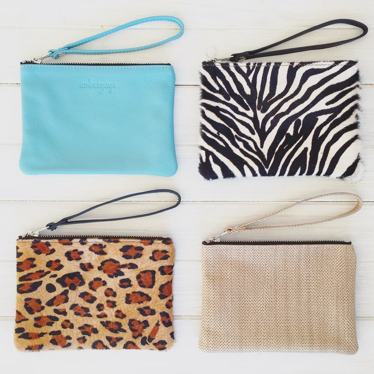 Wristlets in leather and fur