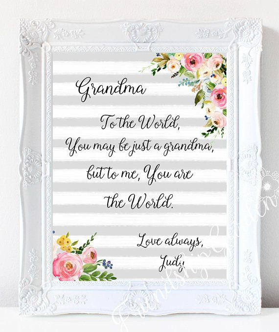 Mothers Day Gift For Grandma Personalized Birthday Grandmother Granddaughter To Grandson Gra