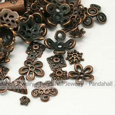 Tibetan Style Beads Caps,  Mixed Shape,  Red Copper,  about 8~20mm in diameter,  3~8mm thick,  hole: 0.5~2mm.-in Clasps & Hooks from Jewelry on Aliexpress.com | Alibaba Group
