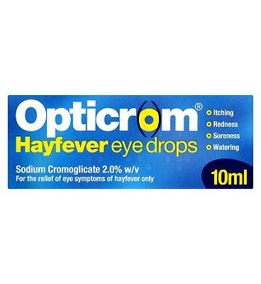 #Opticrom #Hayfever Eye #Drops - 10ml #10173518 #20 #Advantage card #points. #Opticrom #Hayfever Eye #Drops for the #relief of eye #symptoms of #hayfever only #Suitable for: #Adults and #children over 6 #years #Active #ingredients: #Sodium #cromoglicate 2% w/v. See #details #below, #always read the #label FREE #Delivery on #orders over 45 GBP. #(Barcode EAN=5000283653486)