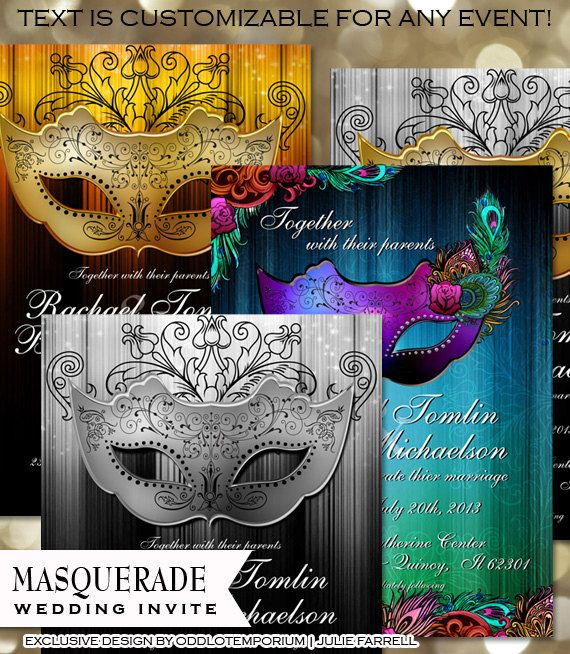 Masquerade Wedding Invitation - DIY Digital Printable - Gold, silver, MultiColored Peacock Masquerade Wedding theme  $22.00  Professional Printing Available  Custom Colors Available  Designed by Odd Lot Weddings  www.oddlotweddings.com #wedding #masqueradde