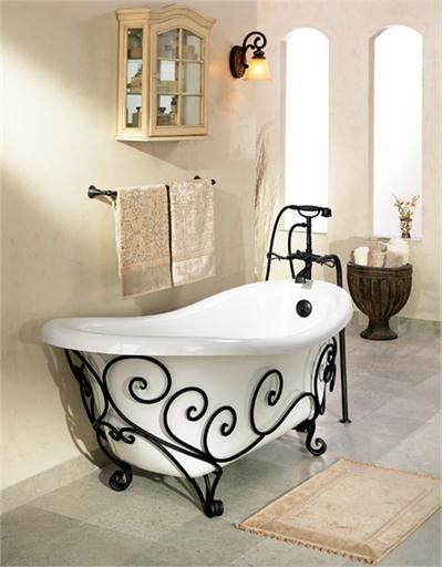 http://www.idecz.com/category/Iron/ Orleans Wrought-Iron Tub from St. Thomas Creations