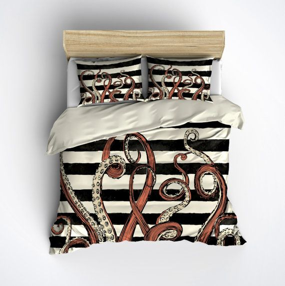 Featherweight Octopus Bedding -  Coral and Black Tentacle Stripe Printed on Cream - Comforter Cover - Octo Duvet Cover, Octopus Bedding Set