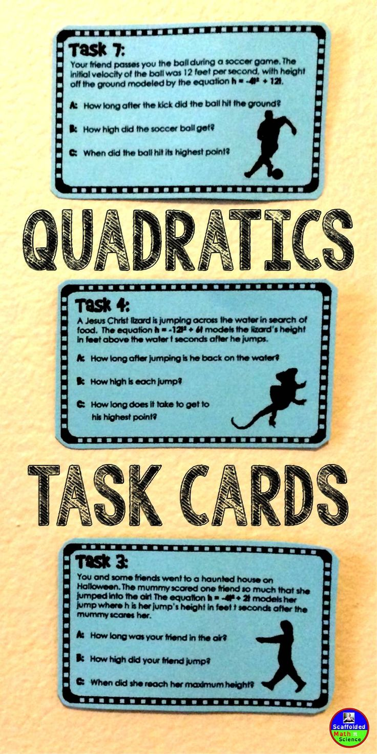 Quadratic Binomial Word Problems Task Cards