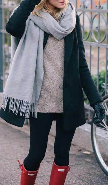 #winter #fashion / knit layers + red color pop