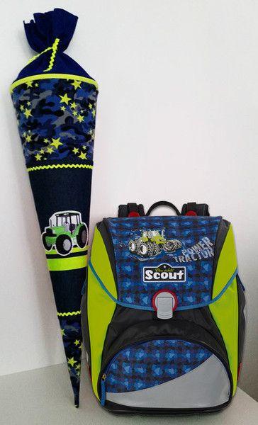 Schultüten - ★Schultüte Traktor aus Stoff ★ Zuckertüte ★ - ein Designerstück von Smaragdfeder bei DaWanda