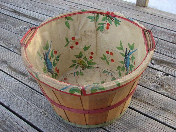 Vintage Wood Bushel Laundry Basket, Parakeet and Cherry ...