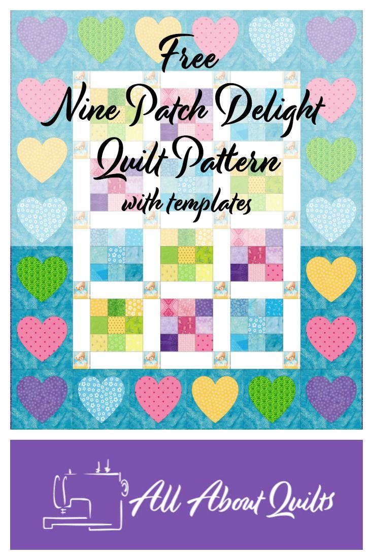 This free pattern is based on the nine patch block and is the perfect size for a baby's cot/crib.