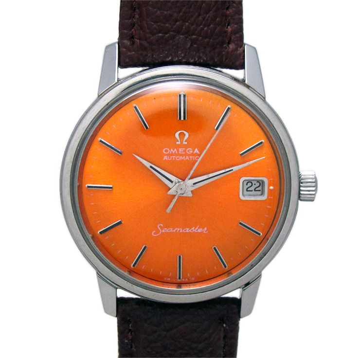 OMEGA SEA MASTER DATE AUTOMATIC WATCH  Feature : Center Second, Date, Water Proof, Engrave On Back Cover and Automatic Dial Features : Repainted Dial Dial Color : Orange Markers : Steel and Black Arrow Figures Case Material : Original Standard Stainless Steel Case Condition : Used and Excellent as per its Age Sign : Signed on the Dial, Crown, Back Cover and Movement Authentic : All Watches displayed are 100% Authentic and Original Crown : Pull Band Type : Leather Hands : Steel Hands