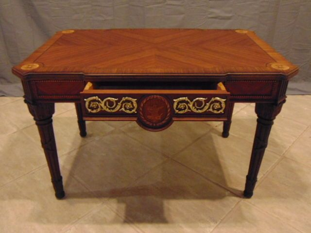 ANTIQUE VICTORIAN COFFEE TABLE W/ SANDALWOOD INLAY & BRASS ACCENTS REEDED LEGS