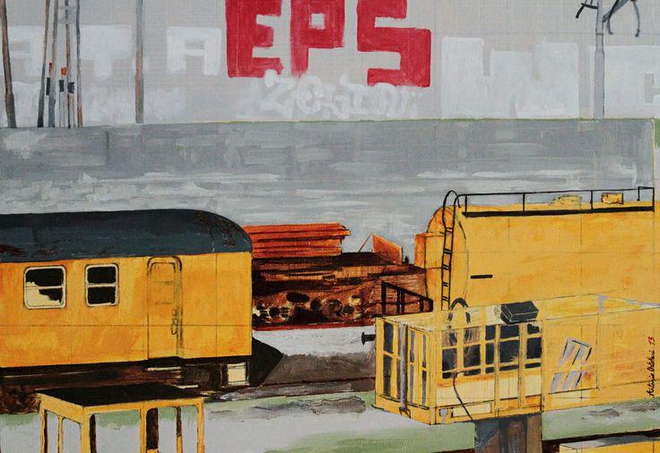 Yellow vagon on Milano Greco-Pirelli railway station. Oil on canvas, 100X70cm.  #wetcatindustry #painting #antonioOrtolani