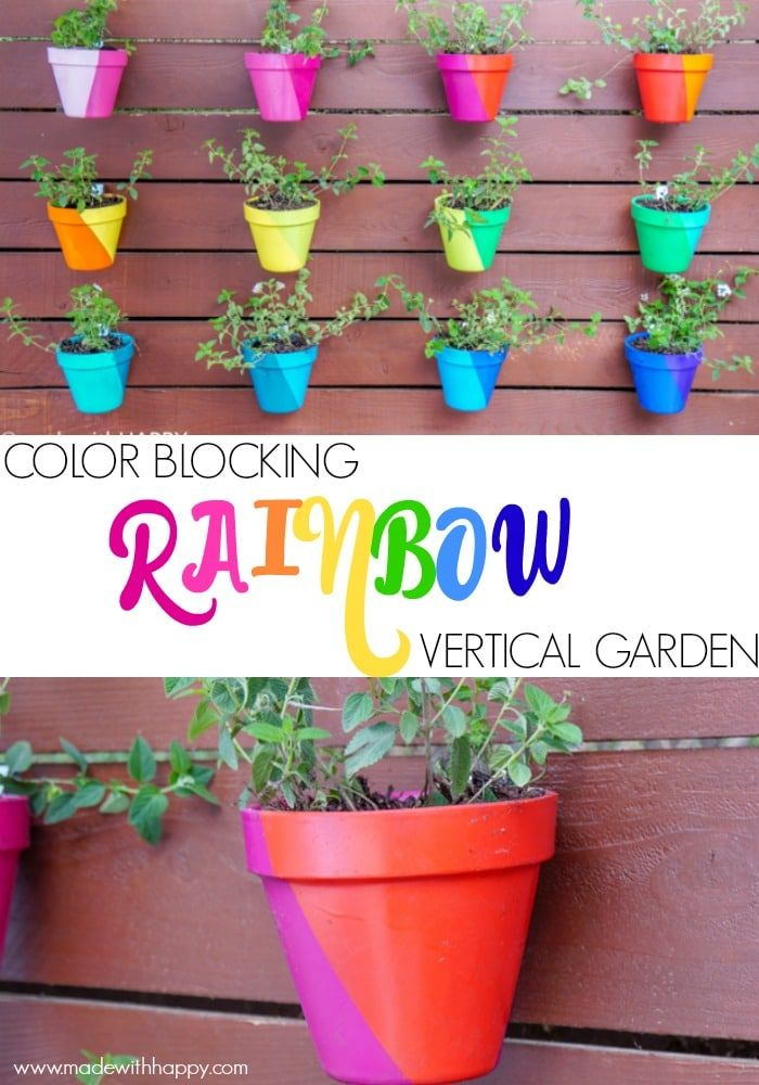 Color Blocking Flower Pots Rainbow Vertical Garden Colorful Brighten Up Any Outside E