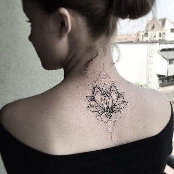 Lotus Flower on Upper Back for Women.