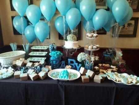 True blue themed tablescape.  See more first boy birthday decorations and party ideas at one-stop-party-ideas.com