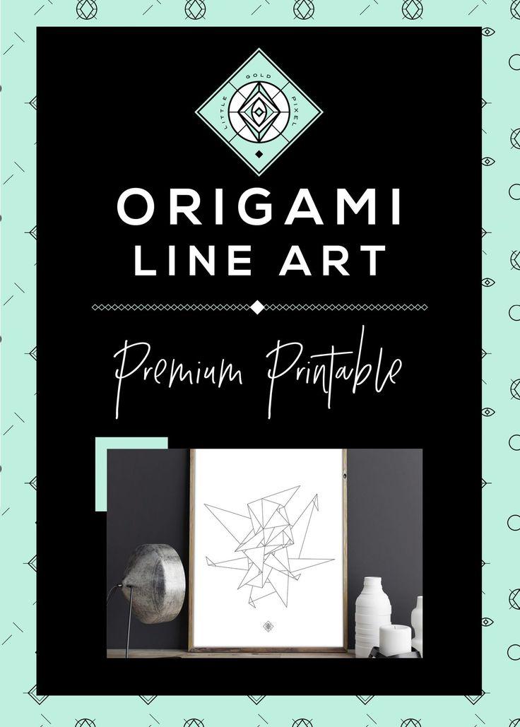 Origami Line Art Free Printable • Little Gold Pixel