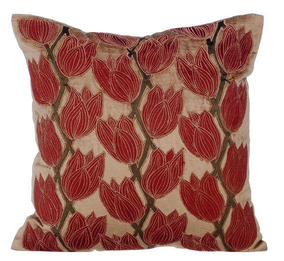 Blooming Tulips - 16x16 Pearl & Rust Velvet Applique Throw Pillow.