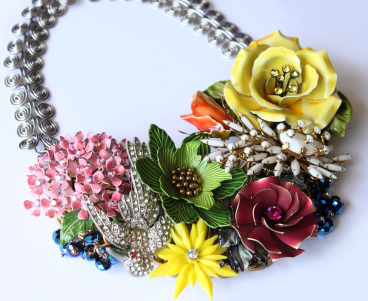 Vintage cluster statement necklace by Raquel Castillo. raquelcastillodesign.com
