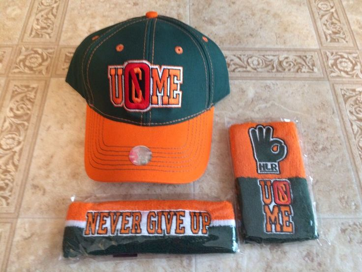 john cena throwback baseball cap wwe hat authentic wristbands headband set new