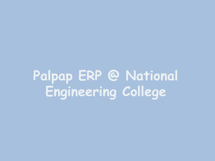 Palpap ERP @ National Engineering College