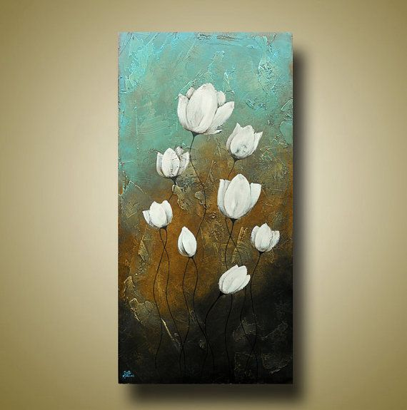 Abstract Flower Painting Original Art with by BrittsFineArt
