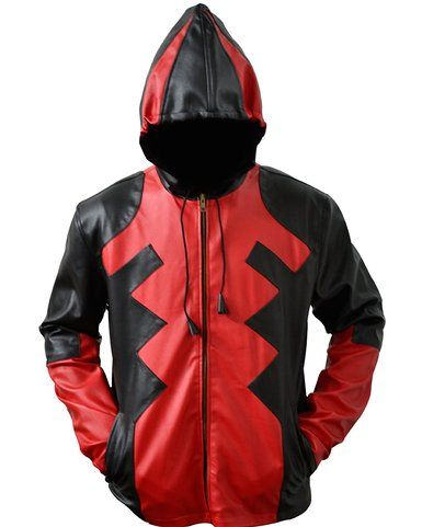DeadPool Red and Black gaming Leather Jacket,deadpool jacket,gaming jacket,DeadPool custome,DeadPool Red and Black Jacket