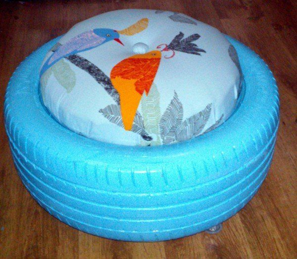 Upcycling Möbel: Hocker aus Autoreifen