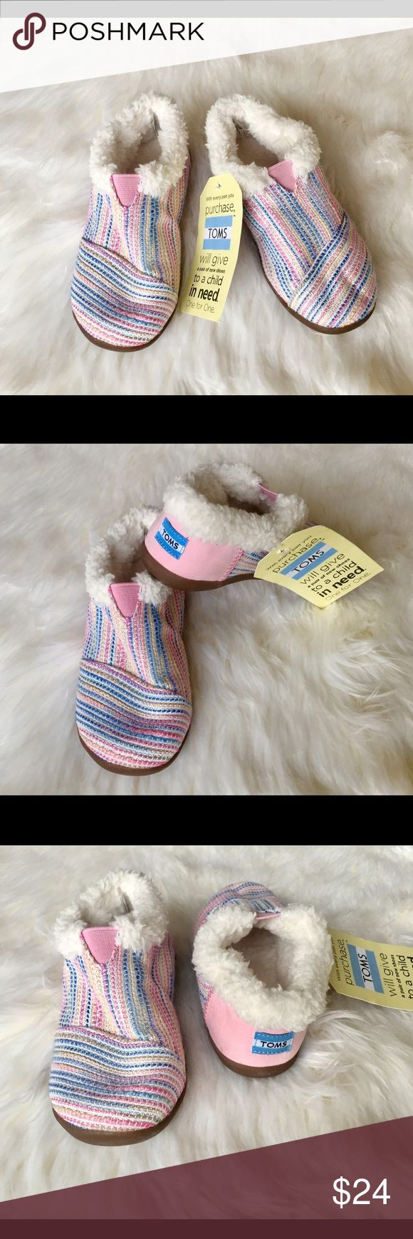 Pink Metallic Woven Tiny TOMS House Slippers,Sz 11 These super cute, warm and cozy slippers are the perfect feet huggers for your little one this season•extremely comfortable with dreamy pink metallic colors TOMS Shoes Slippers