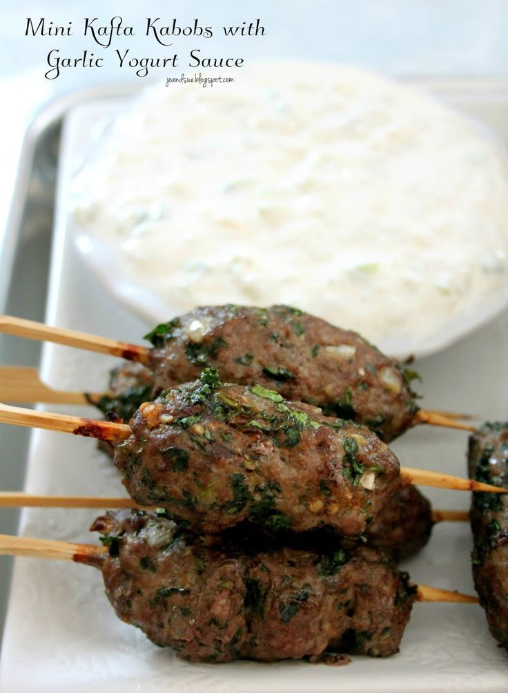 Jo and Sue: Mini Kafta Kabobs With Garlic Yogurt Sauce
