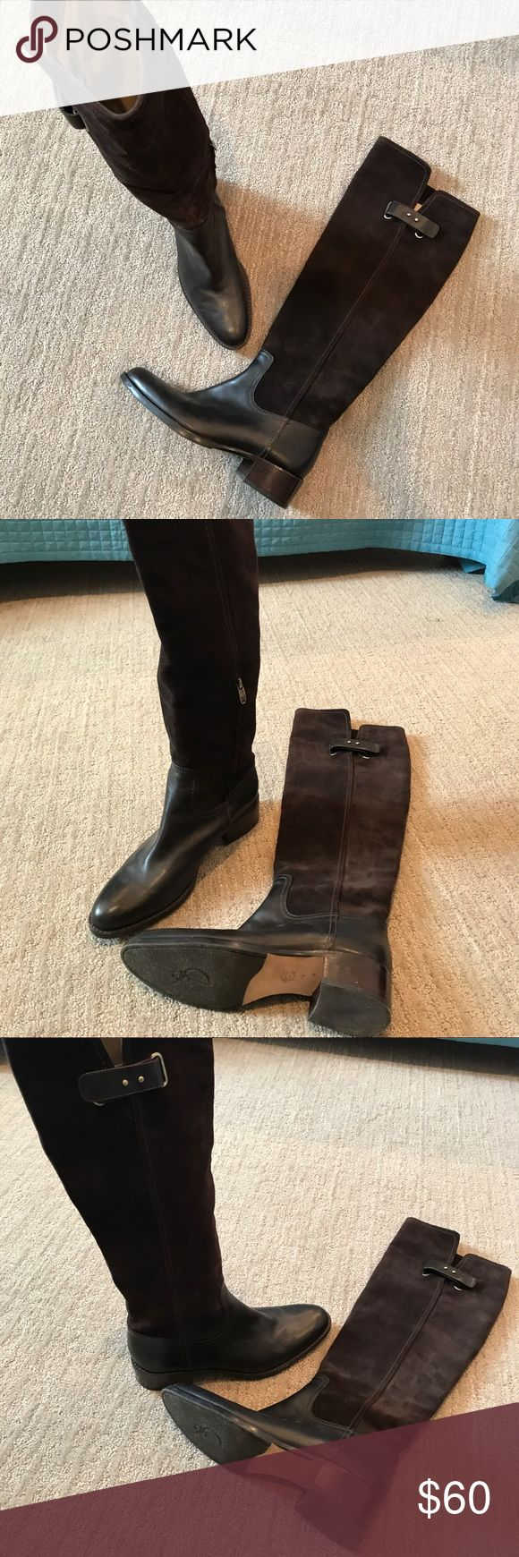 Joan & David Women's Brown Leather & Suede Boots Joan & David women's brown knee boots 8.5. Leather & suede. Worn once. Excellent condition. Joan & David Shoes Winter & Rain Boots