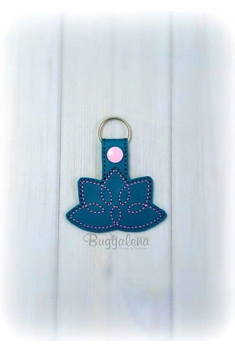 Lotus Flower Snap Tab Key Fob Embroidery Design Tab Key Key Fobs