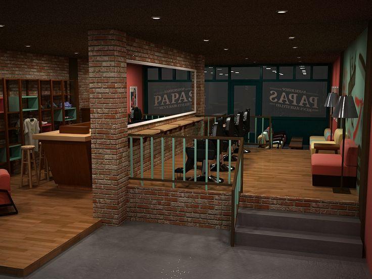Retropop interior design concept  Barber and coffe shop  Retro pop Retro dan Interior design