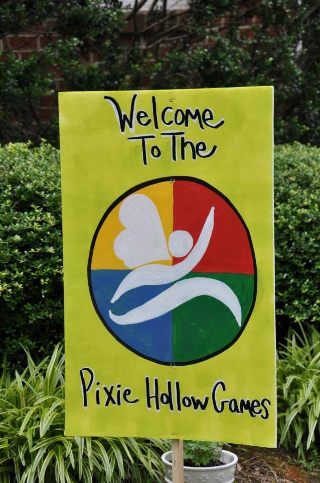 Pixie Hollow games sign to welcome guests