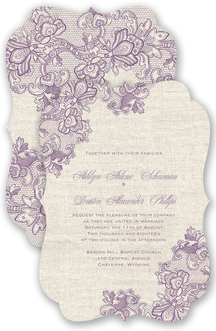 Lace Melody Wedding Invitation in Wisteria by David's Bridal   Follow us and start pinning pretty paper options - from invitations and save the dates to programs and table numbers - for a chance to win $1,000 to InvitationsbyDavidsBridal.com. Enter here: http://sweeps.piqora.com/rsvpready
