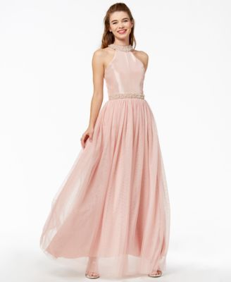 f45070b7456f Speechless Juniors' Imitation-Pearl Halter Gown, a Macy's Exclusive Style