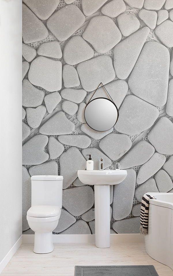 Papier Peint Fresque Galets Gris Stone Wallpaper Wall