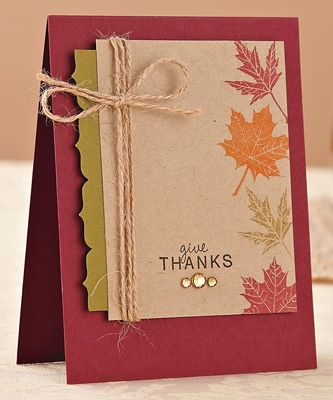 Give Thanks Card by @Lindsay Could use stampin up french foliage instead.
