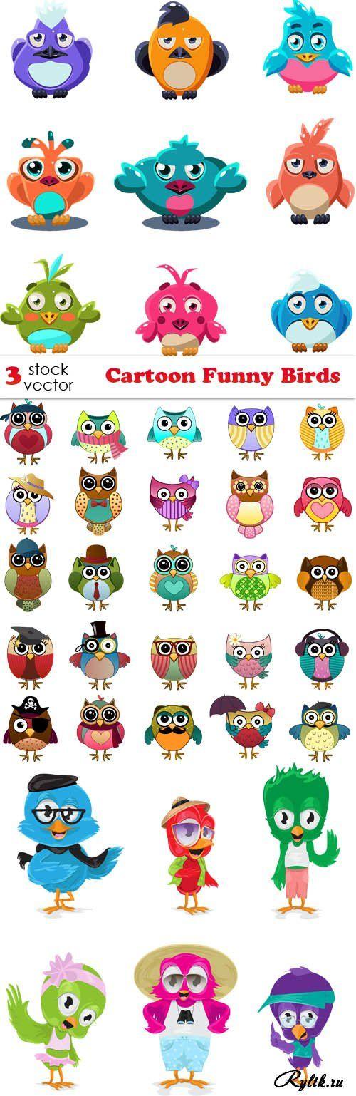 Смешные птицы совы, попугаи вектор. Vectors - Cartoon Funny Birds