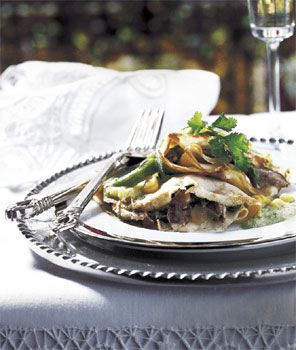 Mushroom Crepes with Poblano Chile Sauce Recipe at Epicurious.com