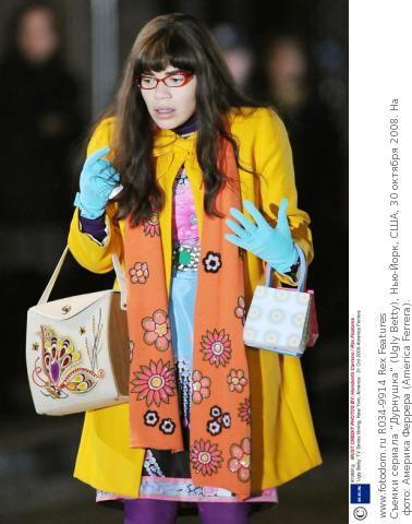 Съемки сериала 'Дурнушка' (Ugly Betty), Нью-Йорк, США, 30 октября 2008. На фото: Америка Феррера (America Ferrera).
